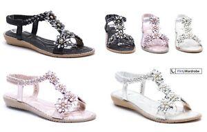 Low-Wedge-Sandals-Diamante-Pearl-Flower-Summer-Elastic-Strap-Beach-Shoes-Womens