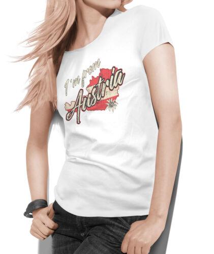 Schriftzug I am from Austria Landkarte von Österreich Motiv T-Shirt Damen