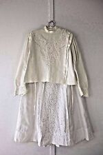 Vintage Edwardian white embroidered walking promenade dress summer top skirt lot