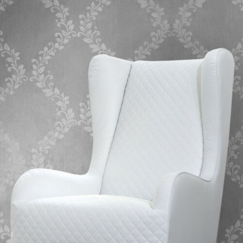 Wallpaper roll silver Metallic floral flocked textured white Damask Victorian 3D