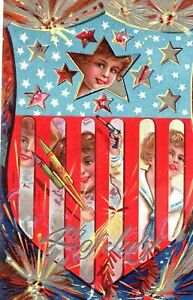 Patriotic-4th-of-July-4-Postcard-Children-Behind-Flag-Shield-Firecracker-s87