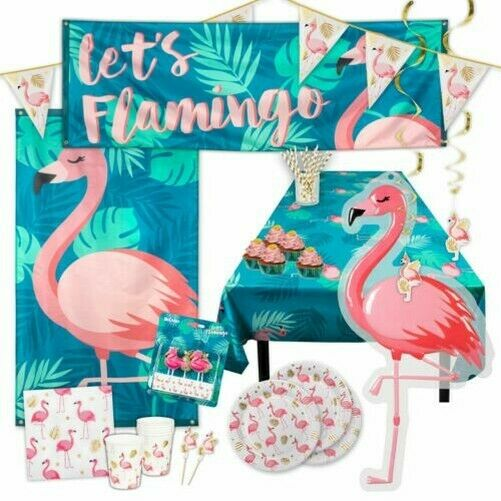 Pink Gold Flamingo Party Tableware Decoration Birthday Hen Do Jungle Baby Shower