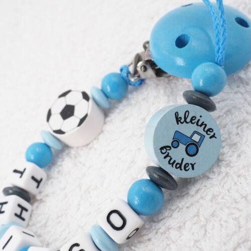 Chaîne de tétine avec nom petit frère Football tracteur garçon bleu clair gris bébé