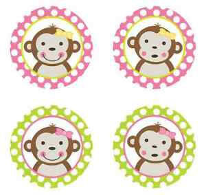 Home & Garden Mod Monkey Girl {pink & Lime Green} Edible Cupcake Toppers Decoration To Produce An Effect Toward Clear Vision