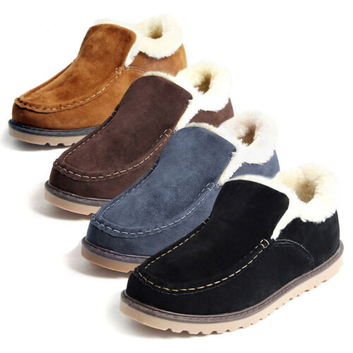 Men/'s Faux Fur Lined Moccasin Slippers Ankle Boot Plush Outdoor Snow Winter Boot