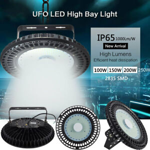 100w 250w ufo led hallenleuchte hallenbeleuchtung industrie lampe strahler wei ebay. Black Bedroom Furniture Sets. Home Design Ideas