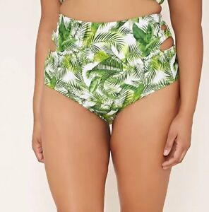 e6e096caa3 Forever 21+ Tropical Palm Leaf High Waist Cut Out Swim Bottom Plus ...