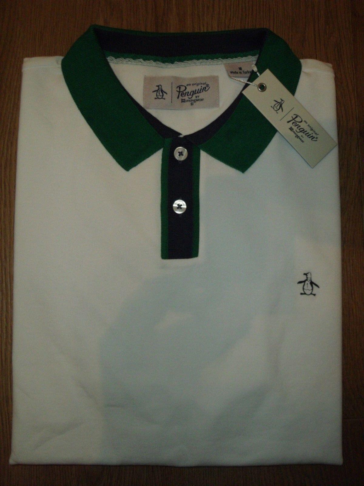 Original Penguin Weiß Contrast Collar Polo Shirt Rubber Logo Regular Fit M New     | Vorzügliche Verarbeitung  | Günstige Bestellung  | Starke Hitze- und Abnutzungsbeständigkeit