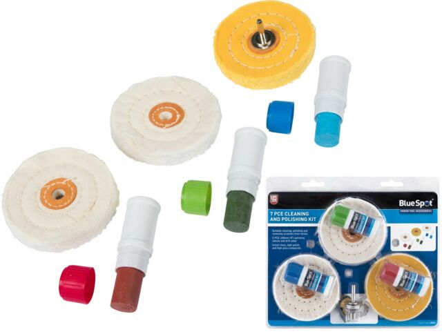 Metal Cleaning Polishing Buffing Wheels and Compound Kit 7 Piece Set BlueSpot