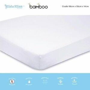 Kidz-Kiss-Bamboo-Waterproof-Fitted-Mattress-Protector-Cover-Fits-Cradle