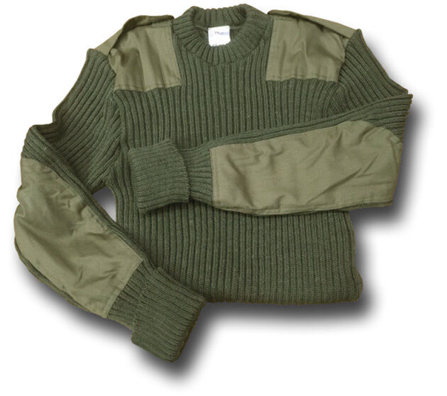 ARMY   NATO MILITARY Grün WOOLLY PULLY JUMPER 100% WOOL WITH EPAULETTES