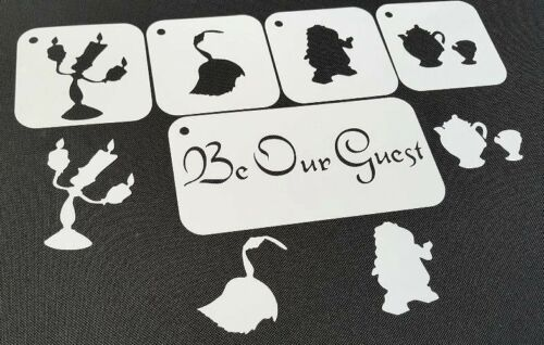 5pcs Beauty and Beast Candlestick Potts Clock Feather duster Stencils Belle the