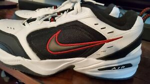 NIKE AIR MONARCH IV Extra WIDE 4E WHITE/BLACK/RED CROSS TRAINER MEN SIZE 12