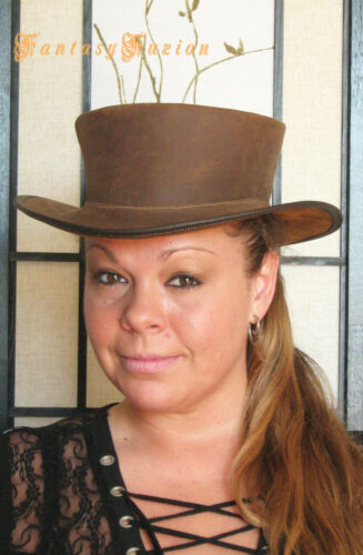 Steampunk Hat Victorian Leather Standard SHORT Top Hat no.2