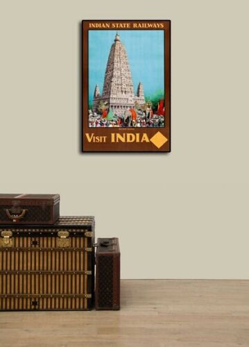 16x24 1930s Visit India Budh Gaya Vintage Old Style Railway Travel Poster