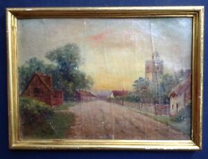 Tableau-Impressionniste-Paysage-Route-de-Village-Huile-signee-maniere-Pissarro