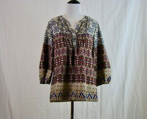 CB  Women's Blue Red Top Blouse Shirt 3/4 Sleeve Boho - Size S Small