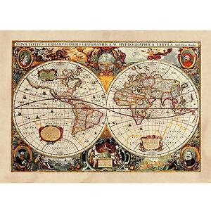 Poster-Antica-Mappa-1646-Mondo-World-Cartina-Geografica-Mondo-ARREDAMENTO