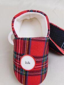 Family PJs Boys or Girls Brinkley Plaid Slippers Red L161108K52