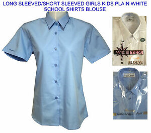 Women girls kids plain white sky blue collared school for Womens school uniform shirts
