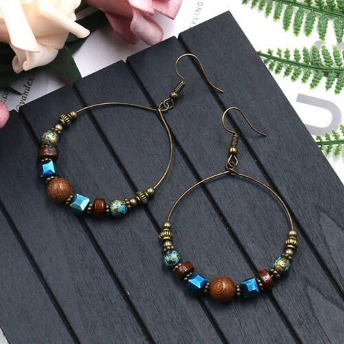 Bohemian Earrings Vintage Ethnic Style Large Round Earring Charm Jewelry CB