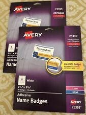 2 Pkgs Avery White Adhesive Name Badges 25395 Peel Away Design 160 Total Count For Sale Online Ebay