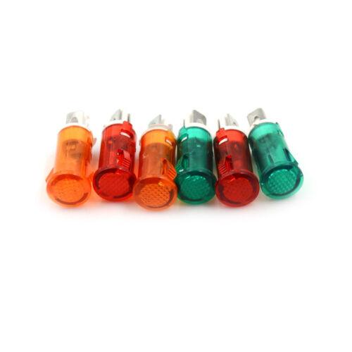 10X Signal Lampe 10mm Rot Grün Gelb LED Lampe Kontrollleuchte 12V 24V 220V QP ~F