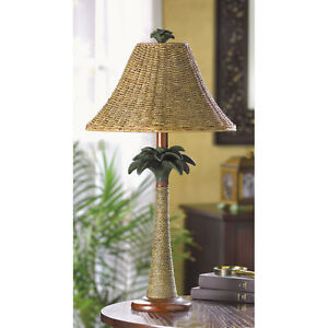 Details About Woven Wicker Gr Rattan Palm Tree Tropical Bedside End Table Lamp Rope Shade