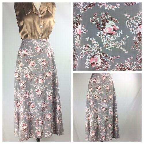 vintage 40s Rayon Print Skirt Grey Pink