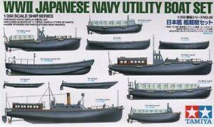 TAMIYA-1-350-SECONDA-GUERRA-MONDIALE-giapponese-blu-navy-UTILITA-BARCA-Set
