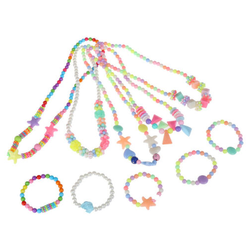 1Set new child beads necklace colorful girls bubblegum handmade for kids toy
