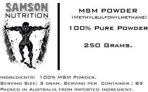 MSM POWDER 250g UNFLAVOURED PHARMACEUTICAL GRADE PREMIUM QUALITY BEST AVAILABLE