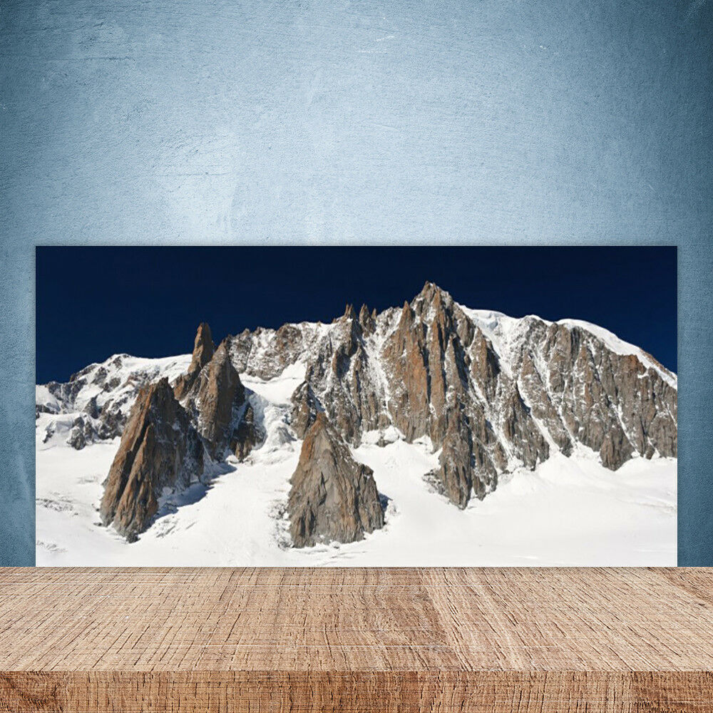 Cupboard kitchen glass wall panel 100x50 snow landscape mountain