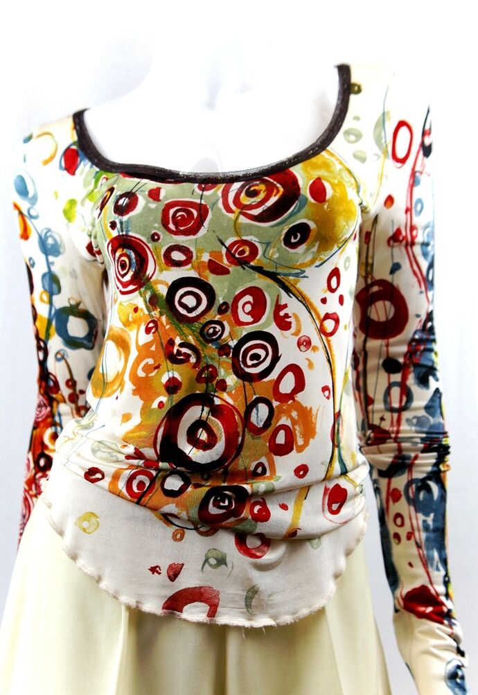 JEAN PAUL GAULTIER Ivory Floral Print Top Sz M Made in ITALY