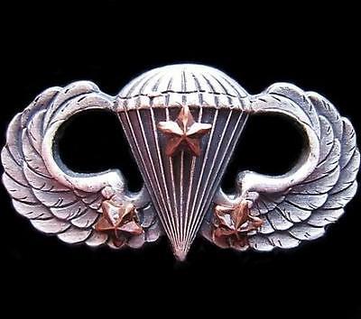 GENUINE U.S. PARATROOPER AIRBORNE PARACHUTE WINGS BADGE 3 COMBAT JUMPS STAR