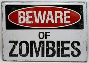 Beware Of Zombies Metal Novelty Sign Bar Garage Wall Decor Warning Man Cave Ebay