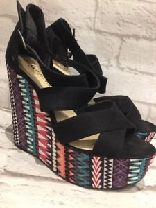 6e029e60892 Details about Women's NEW LOOK Aztec/black Wedge Strap Sandal Shoes Uk Size  5 EU38
