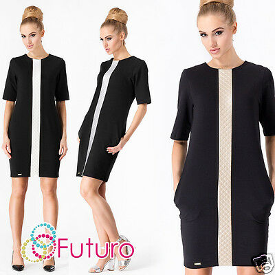Ladies Cocktail Shift Dress With Pockets Crew Neck Formal Tunic Sizes 8-14 FA370