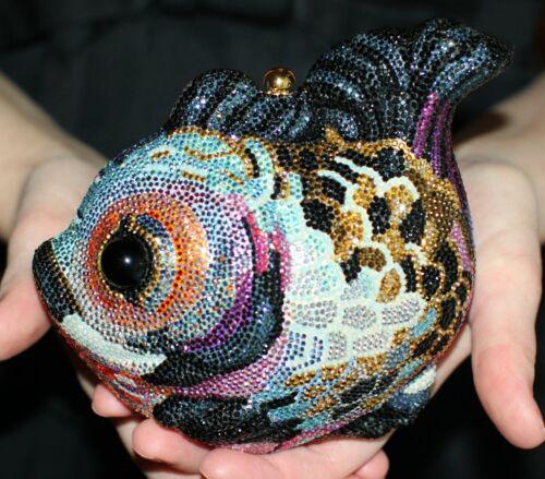 JUDITH LEIBER SWAROVSKI CRYSTAL KOI FISH MULTI JEW