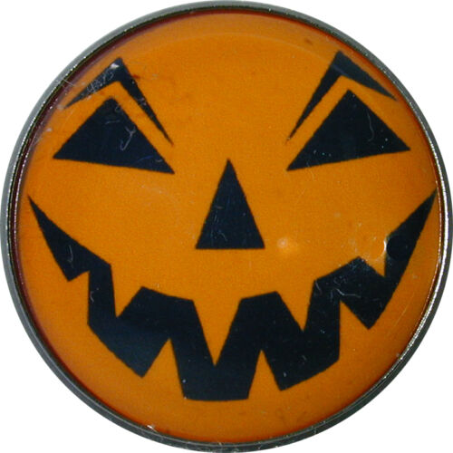 "Halloween Crystal Dome Button 1/"" Jack O Lantern HW 27 FREE US SHIPPING"