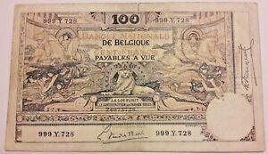 Belgium-100-Francs-1920-FR-14-20-Belgie-Belgique-1898-Montald