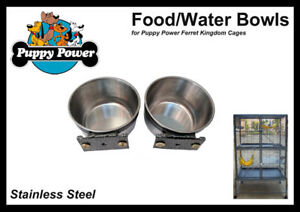 FERRET-amp-RAT-KINGDOM-EXTRA-FOOD-WATER-BOWLS-STAINLESS-STEEL-SET-OF-2