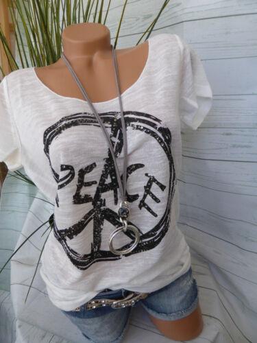 675 Shirt Damen Rick Cardona Gr 34 bis 46 Peace Zeichen Paillettenbesatz