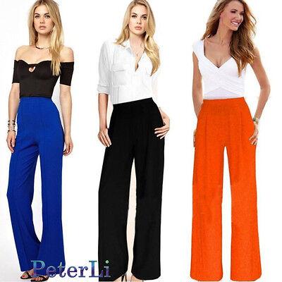 2015 Women Casual Summer Palazzo High Waist Career Wide Leg Trousers Loose Pants