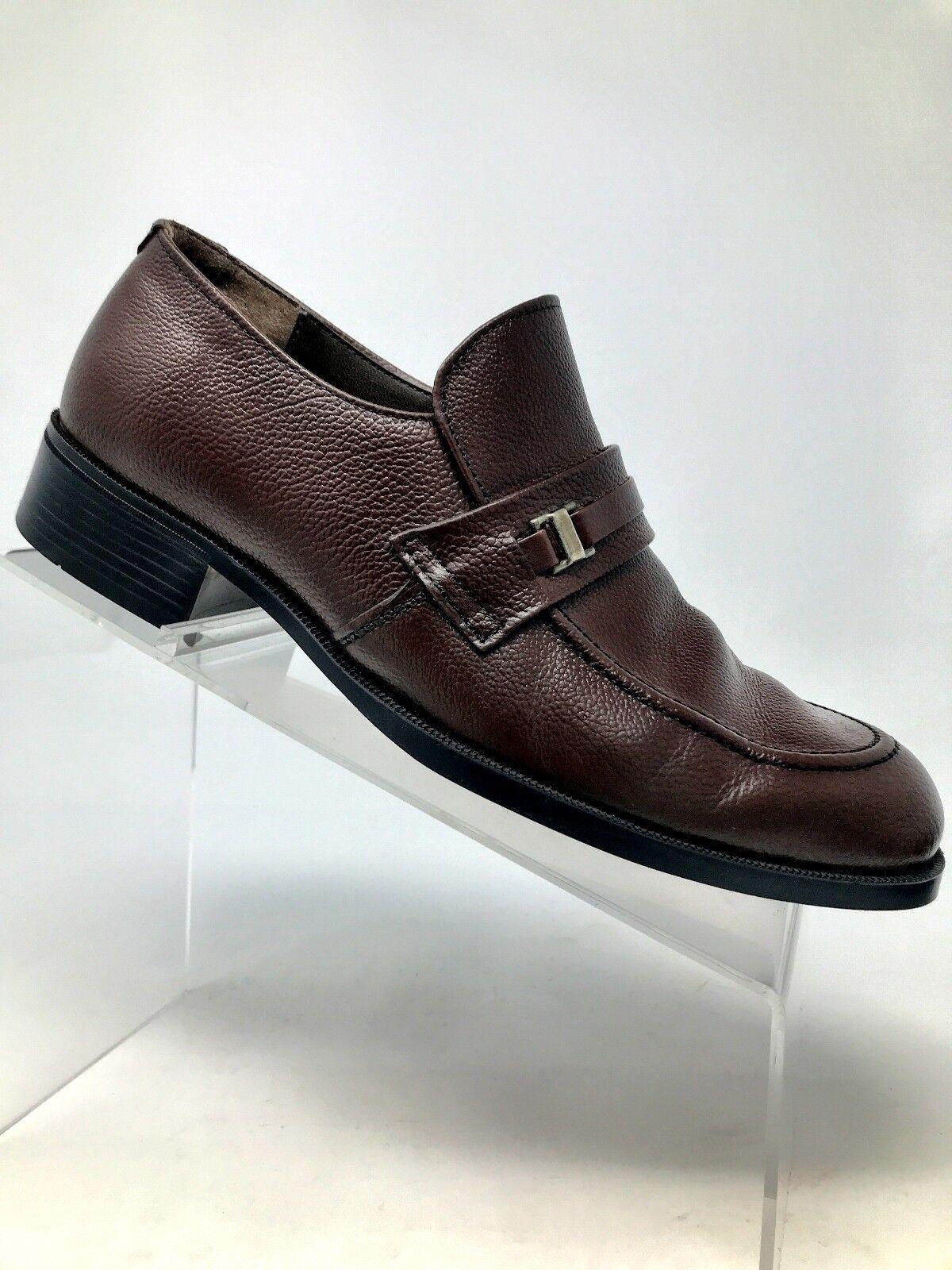 Kinney Vintage Monk Strap Buckle Brown Pebbled Leather Loafer shoes Men 7.5 M