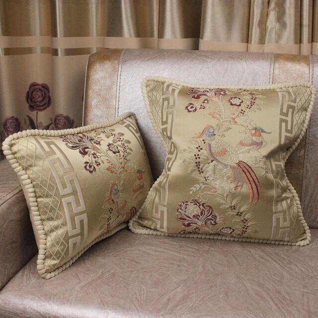 Retro Flower Bird Beige Velvet Throw Pillow Case Home Sofa Cushion Cover