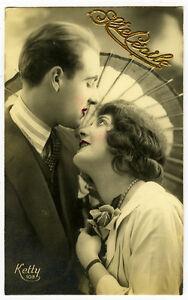 1920's French Deco ROMANIC COUPLE photo postcard