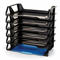 6 Pack Stackable Letter Tray Desk Office File Document A4 Paper Holder Organizer