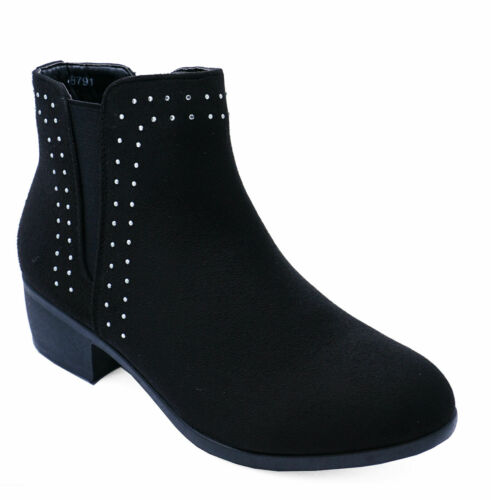 LADIES WOMENS LOW BLOCK HEEL ANKLE STUDDED DIAMANTE CHELSEA BOOTS SHOES SIZE 3-8