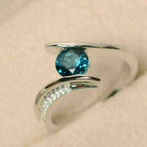 Details about  /1.10Ct Round Cut Blue Topaz /& Diamond Bypass Engagement Ring 14k White Gold Over